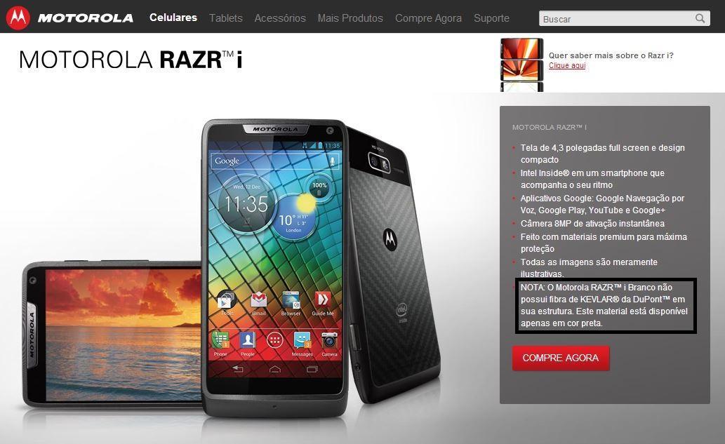 Nota no site da Motorola Mobility sobre o Razr i branco não possuir acabamento em Kevlar.