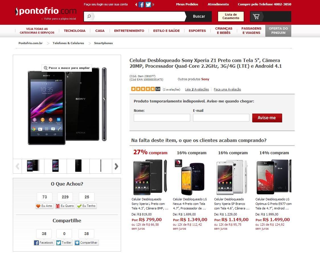 Sony não divulgou o preço sugerido do Xperia Z1 mas deve ficar  #B90516 1124x889