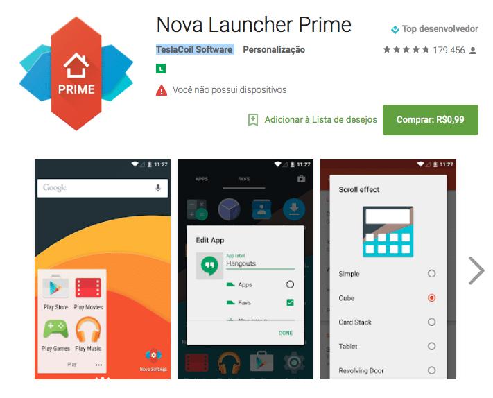 Nova Launcher Prime por R$099