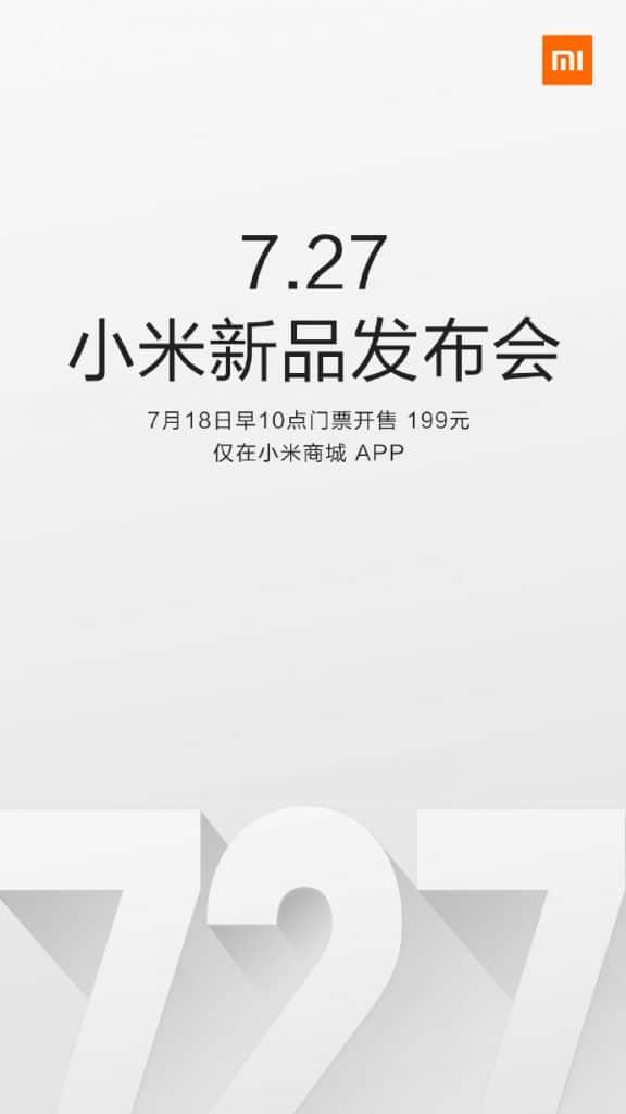 Convite enviado à mídia pela Xiaomi