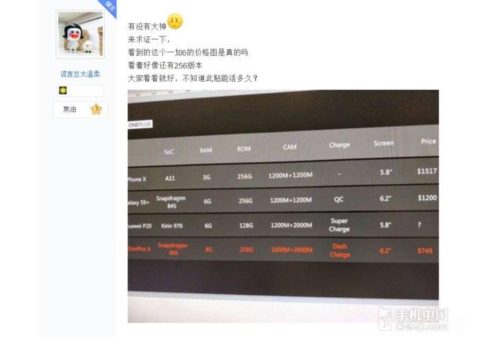 OnePlus 6 volta a surgir em testes de benchmark