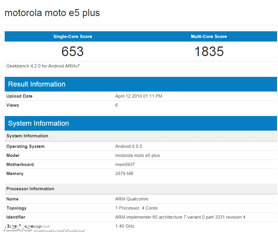 Moto E5 Plus surge no Geekbench