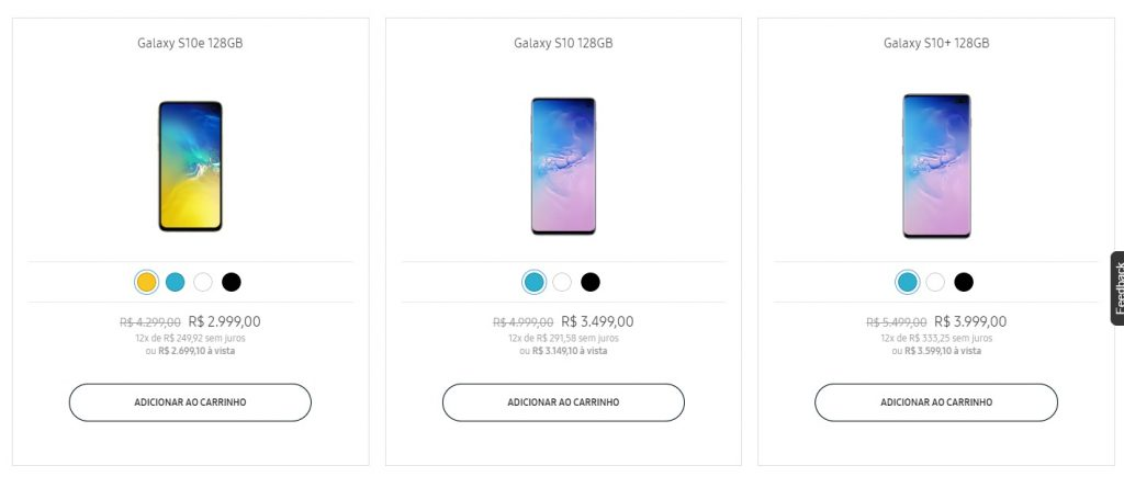 desvalorização Galaxy S10